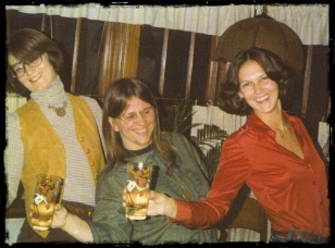Barb Morrell, Barb Jessing and Karla Kava in our shared house at 4965 Ohio Street about 1976